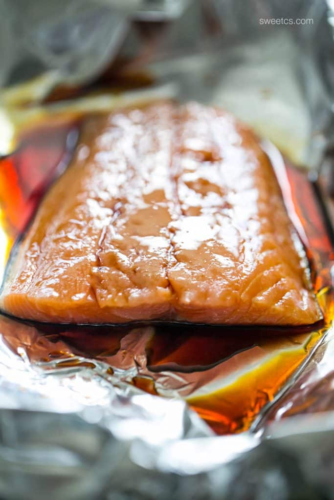 Sweet Chili Soy Foil Baked Salmon
