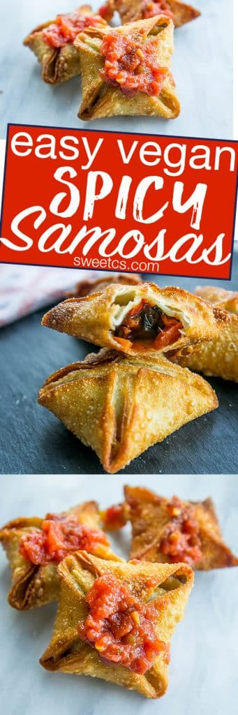 These delicious easy vegan spicy samosas are so good! Perfect for parties and so simple!