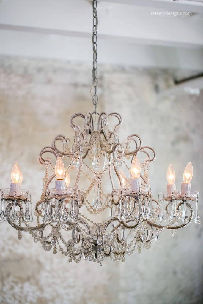 This chandelier and wall treatment is amazing!