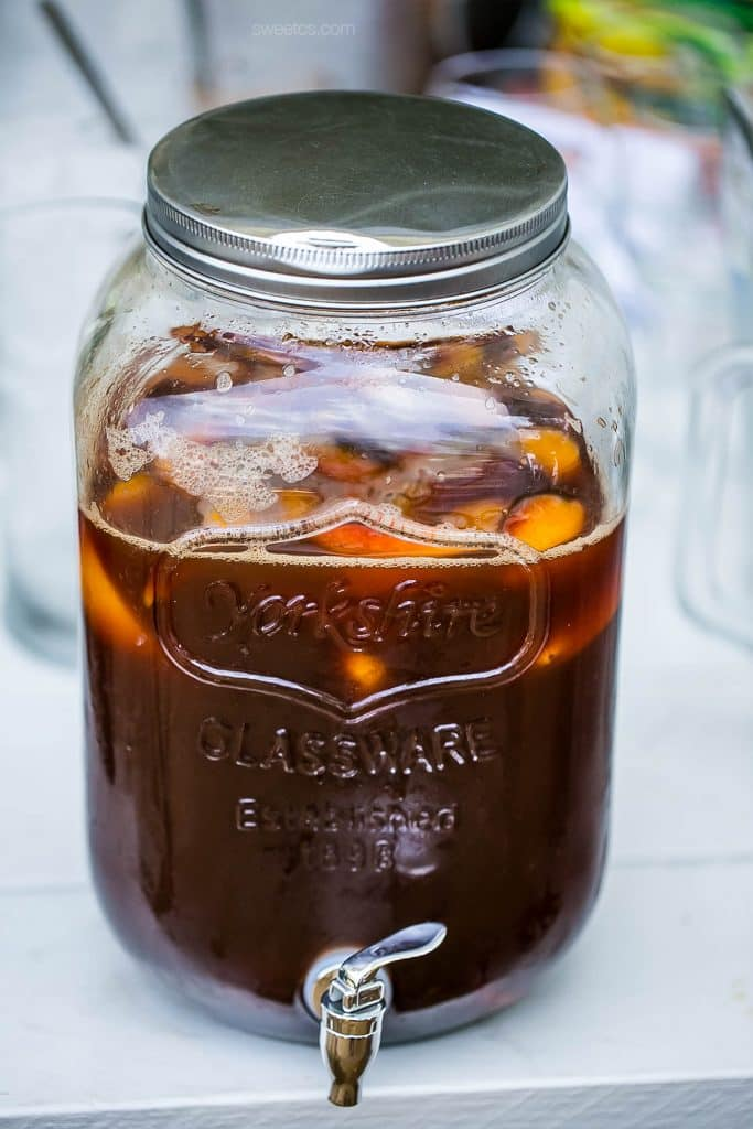 This peach iced tea is so delicious!