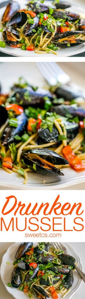 This recipe is so delicious, easy and elegant fast- drunken mussels and pasta with a white wine garlic and pepper sauce!