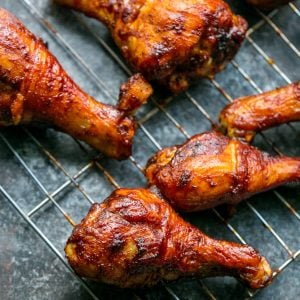 Crunchy baked BBQ chicken drumsticks, Fast, Easy