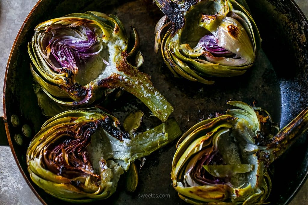These are the best garlic butter artichokes ever