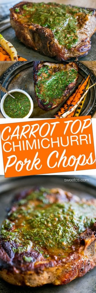 These delicious pork chops are topped with chimichurri sauce - with carrot tops!