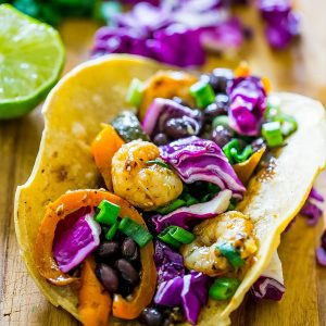 Roasted Habanero and Tomatillo Shrimp Tacos