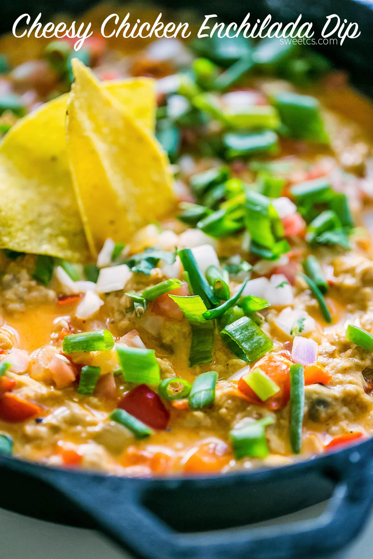 This cheesy chicken enchilada dip is full of flavor and so easy!