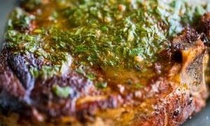 Pork Chops with Carrot Top Chimichurri