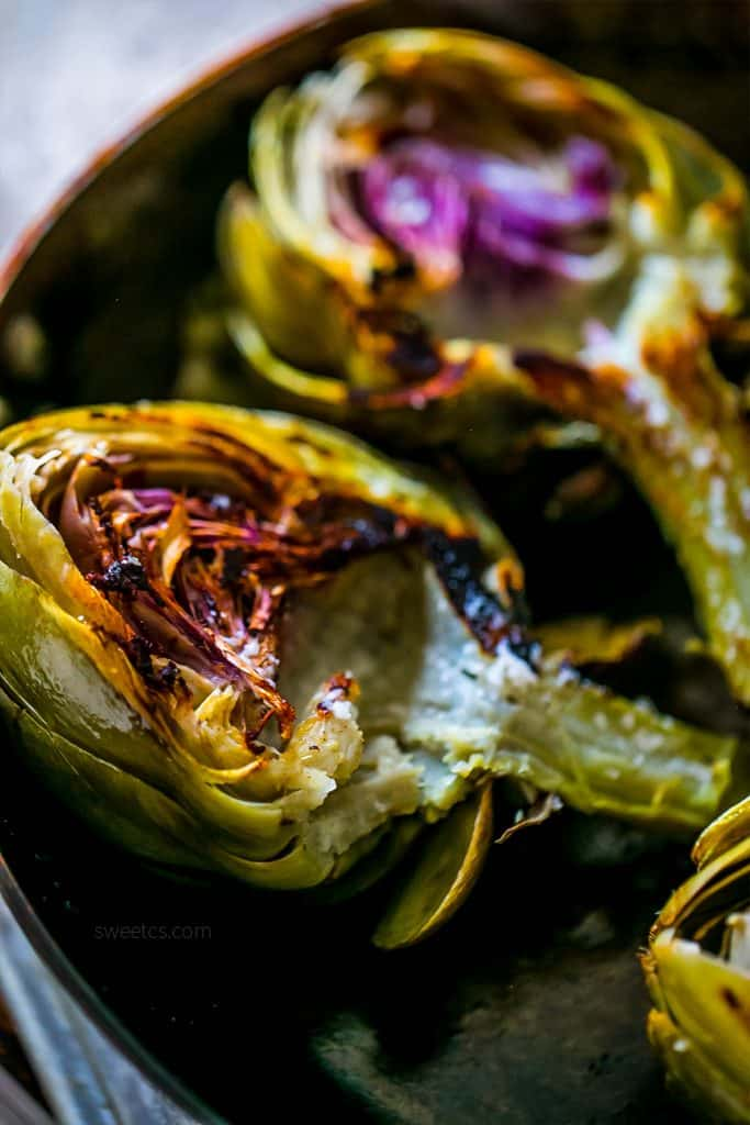Yummy- the best garlic butter roasted roasted artichokes ever!