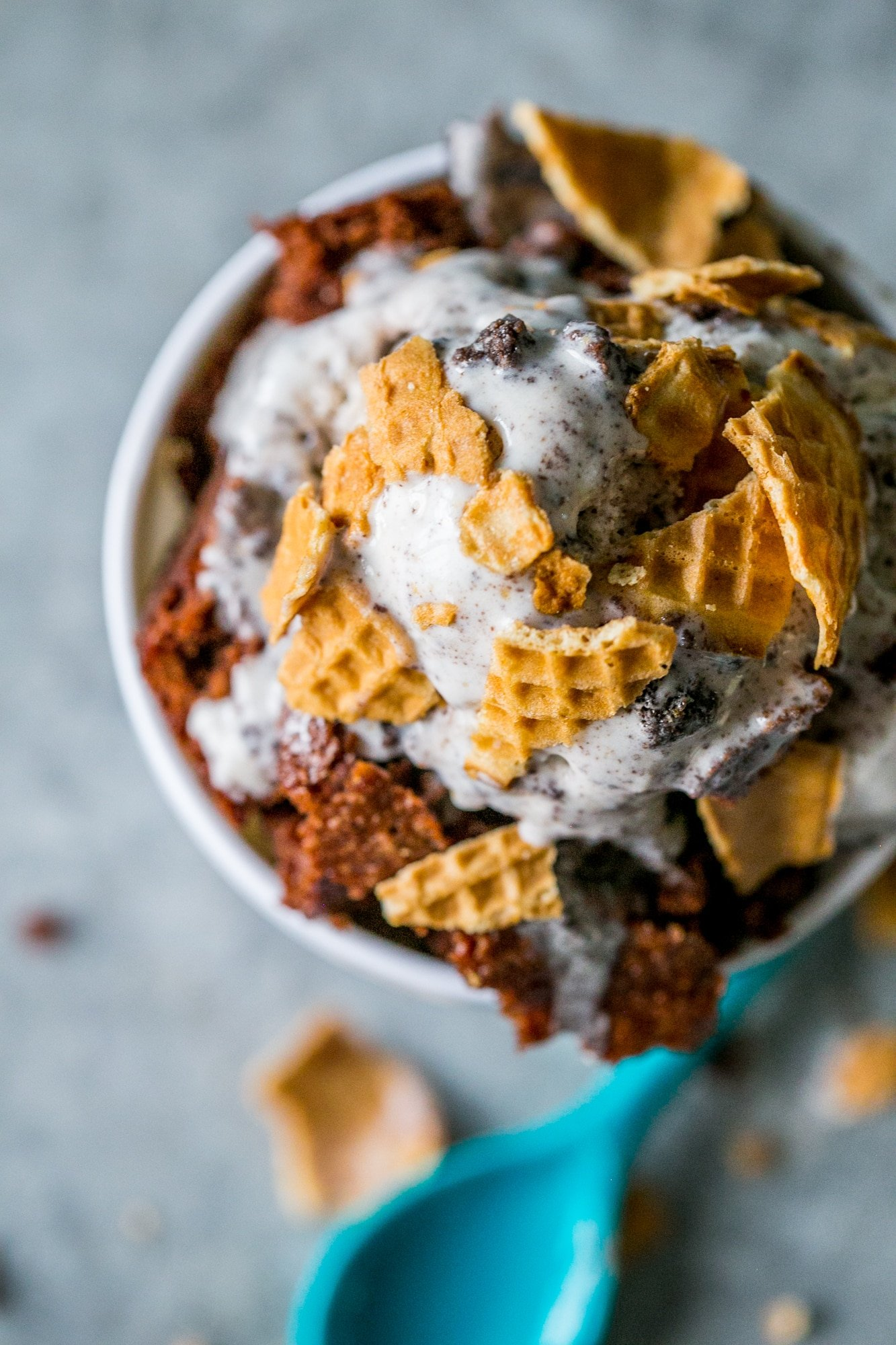 Waffle cone brownie ice cream sundae with Foodstirs brownies - so delicious!