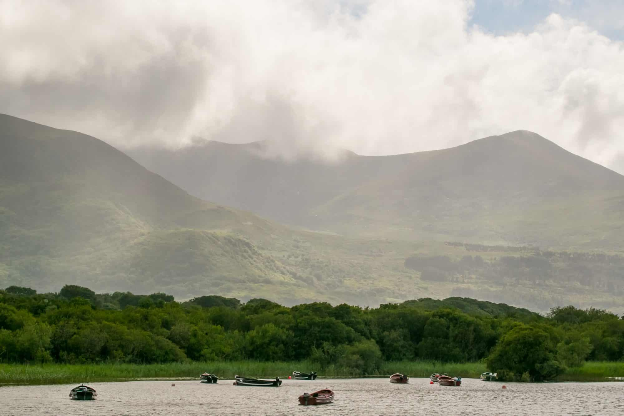 Boats on Loch Lein, Killarney Ireland