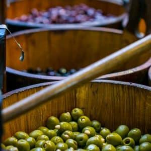 Olive buckets, English Market, Cork, Ireland