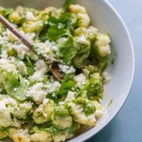 Roasted Cauliflower with Cilantro Cashew Pesto