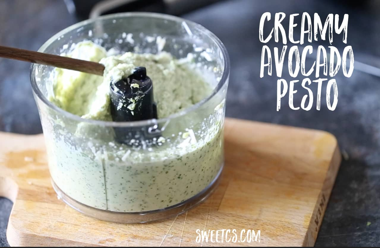 Yum- my favorite summer pesto! This creamy avocado pesto is SOOO good