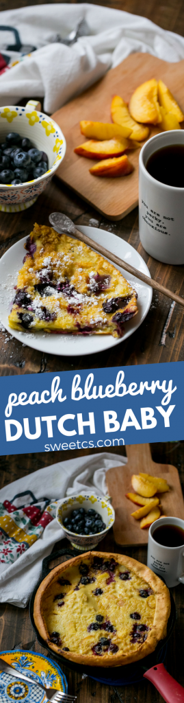 peach blueberry dutch baby - this recipe is my favorite pancake for breakfast!