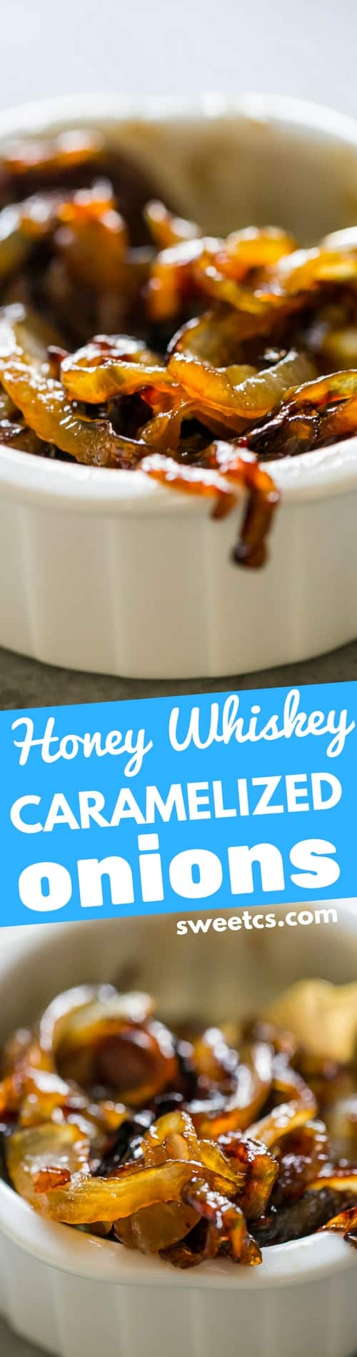 Honey Whiskey Caramelized Onions - these are my favorite on burgers!!