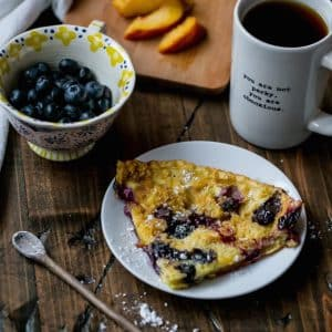 Peach and Blueberry Dutch Baby Oven Pancakes