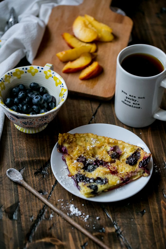 Peach blueberry dutch baby - my favorite oven pancakes!