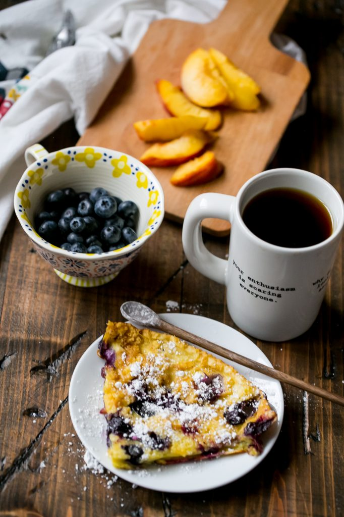 Blueberry and peach oven pancakes - love this easy breakfast recipe
