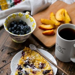 Peach Blueberry Dutch Baby Oven Pancakes