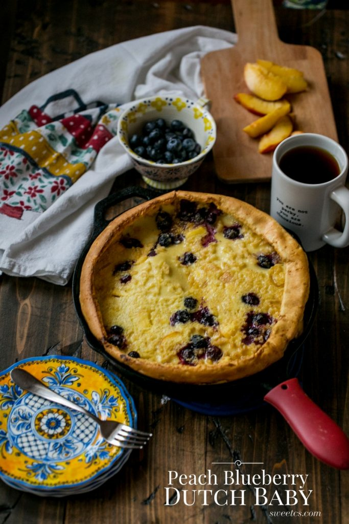 Peach Blueberry Dutch Baby - the most delicious easy oven pancake ever!
