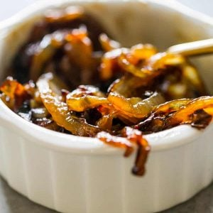 Honey Whiskey Caramelized Onions