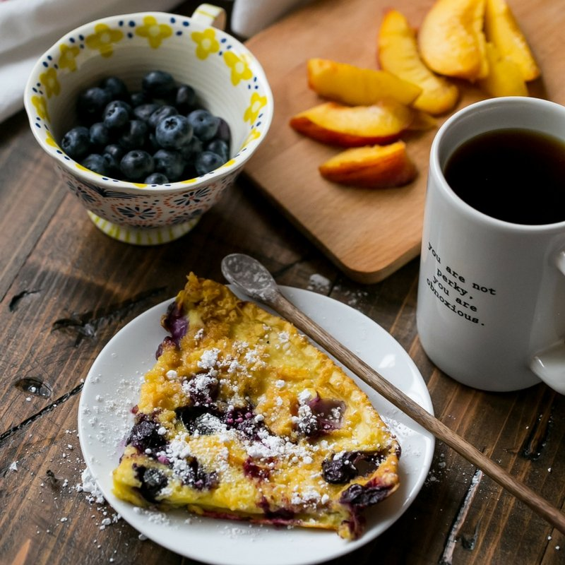 Fresh peach and blueberry oven pancakes