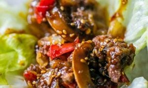 Sweet Chili Beef Slow Cooker Lettuce Wraps