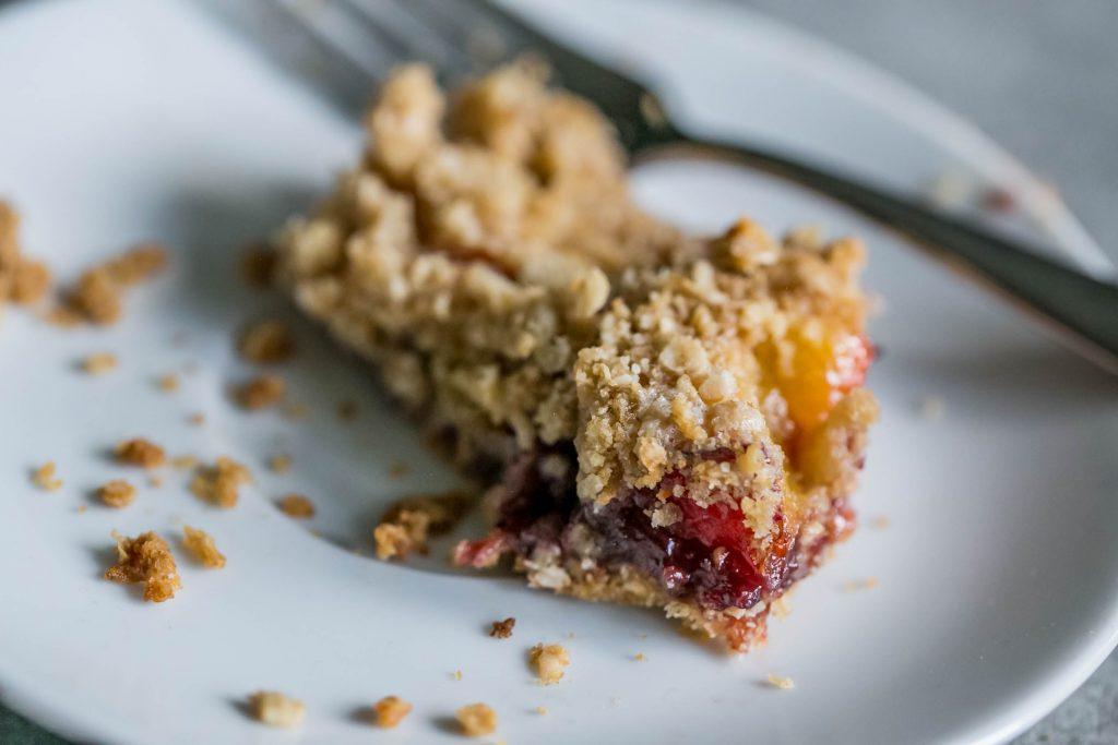Peach raspberry oatmeal crumble - yum!