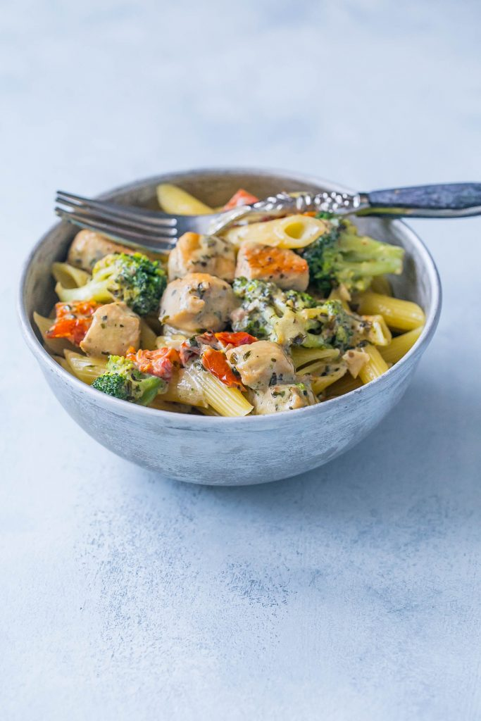 Creamy chicken and broccoli alfredo- a delicious meal in under 30 minutes!