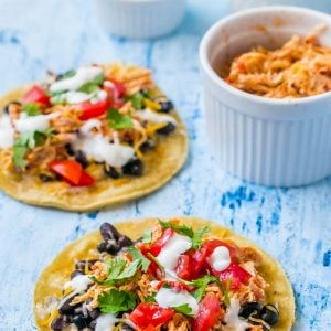 Shredded Chicken Green Chili Tacos