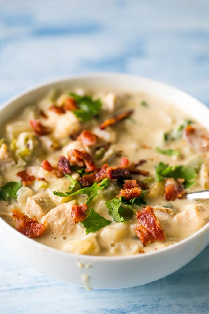Chicken and potato chowder with bacon - YUM!
