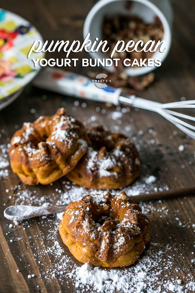 Love this lighter twist on a fall classic - pumpkin pecan yogurt bundt cakes!