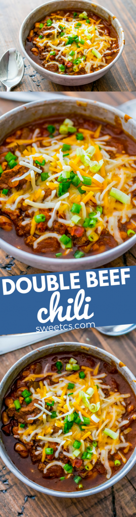 This double beef chili is so incredibly delicious!