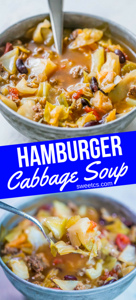 This hamburger cabbage soup is so delicious and easy!