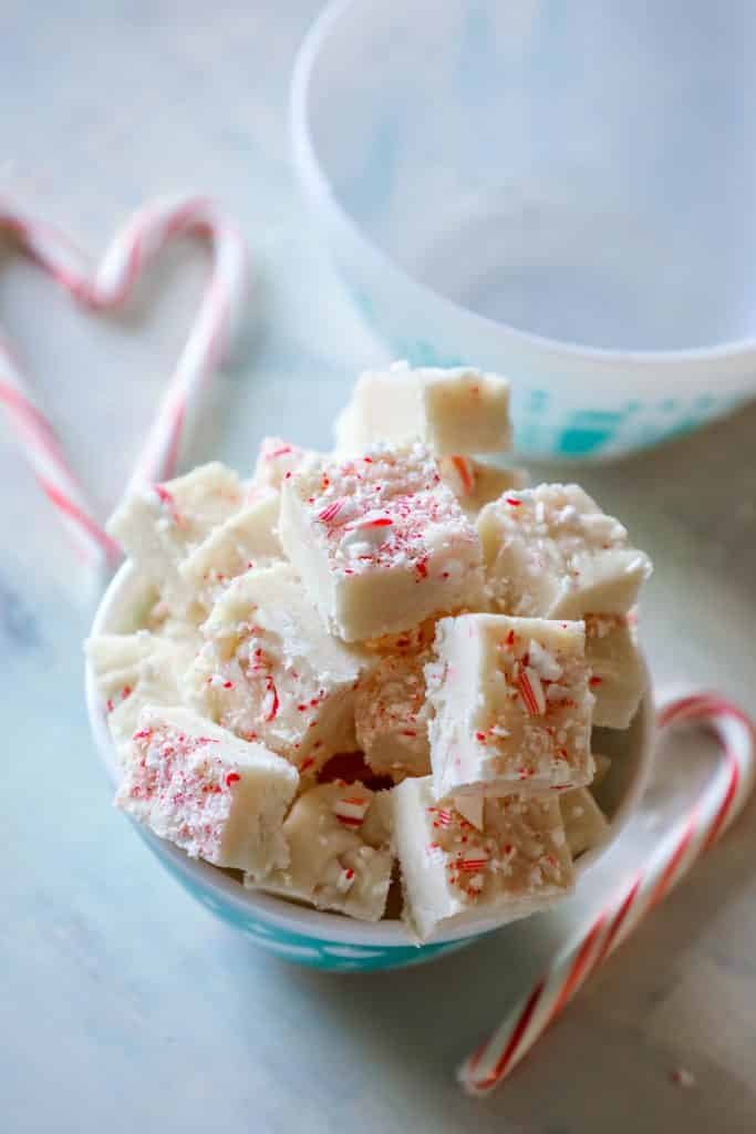 cake batter candy cane fudge so easy and delicious