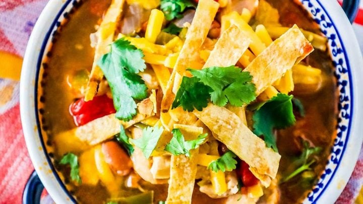 10 Minute Chicken Tortilla Soup (Instant Pot, Stovetop, or Slow Cooker)