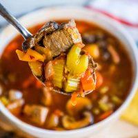 Instant Pot Skinny Steak Soup - Just 3 Points!