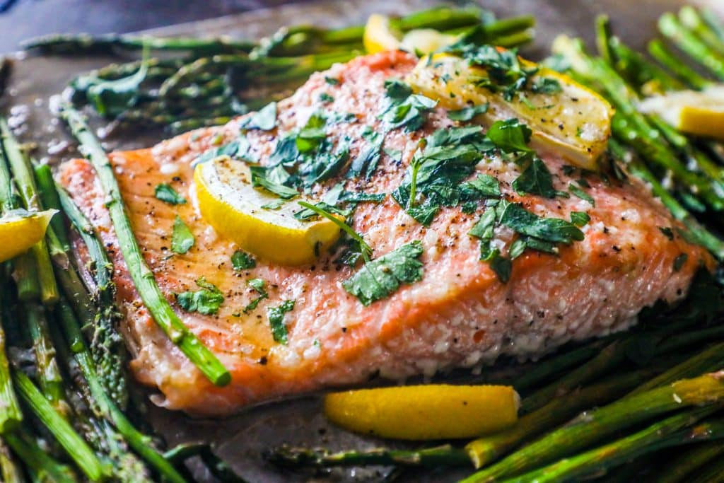 Sheet Pan Lemon Garlic Salmon and Asparagus - Sweet Cs Designs