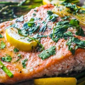 Sheet Pan Lemon Garlic Salmon and Asparagus