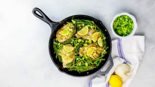 One Pot Lemon Garlic Pork Chops and Asparagus Skillet