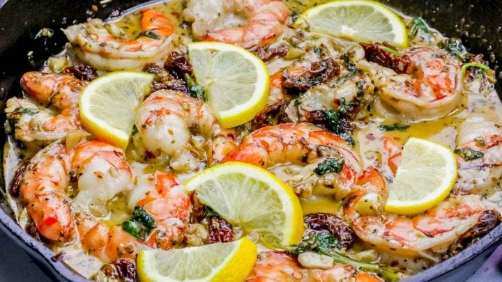 One Pot Creamy Shrimp Florentine Skillet