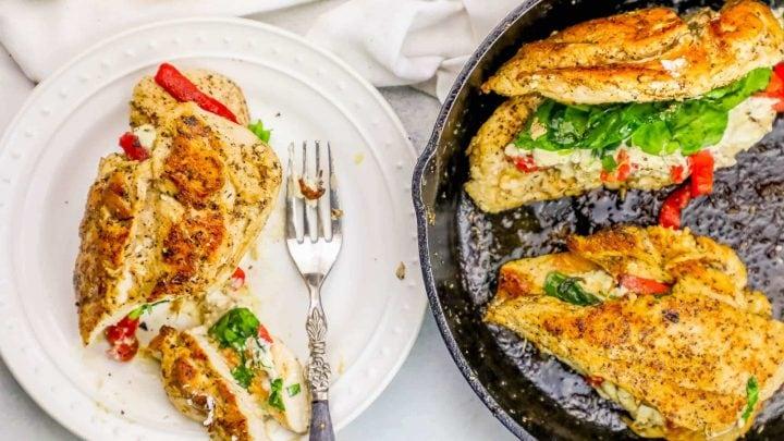 Cheesy Stuffed Chicken Florentine Skillet Recipe