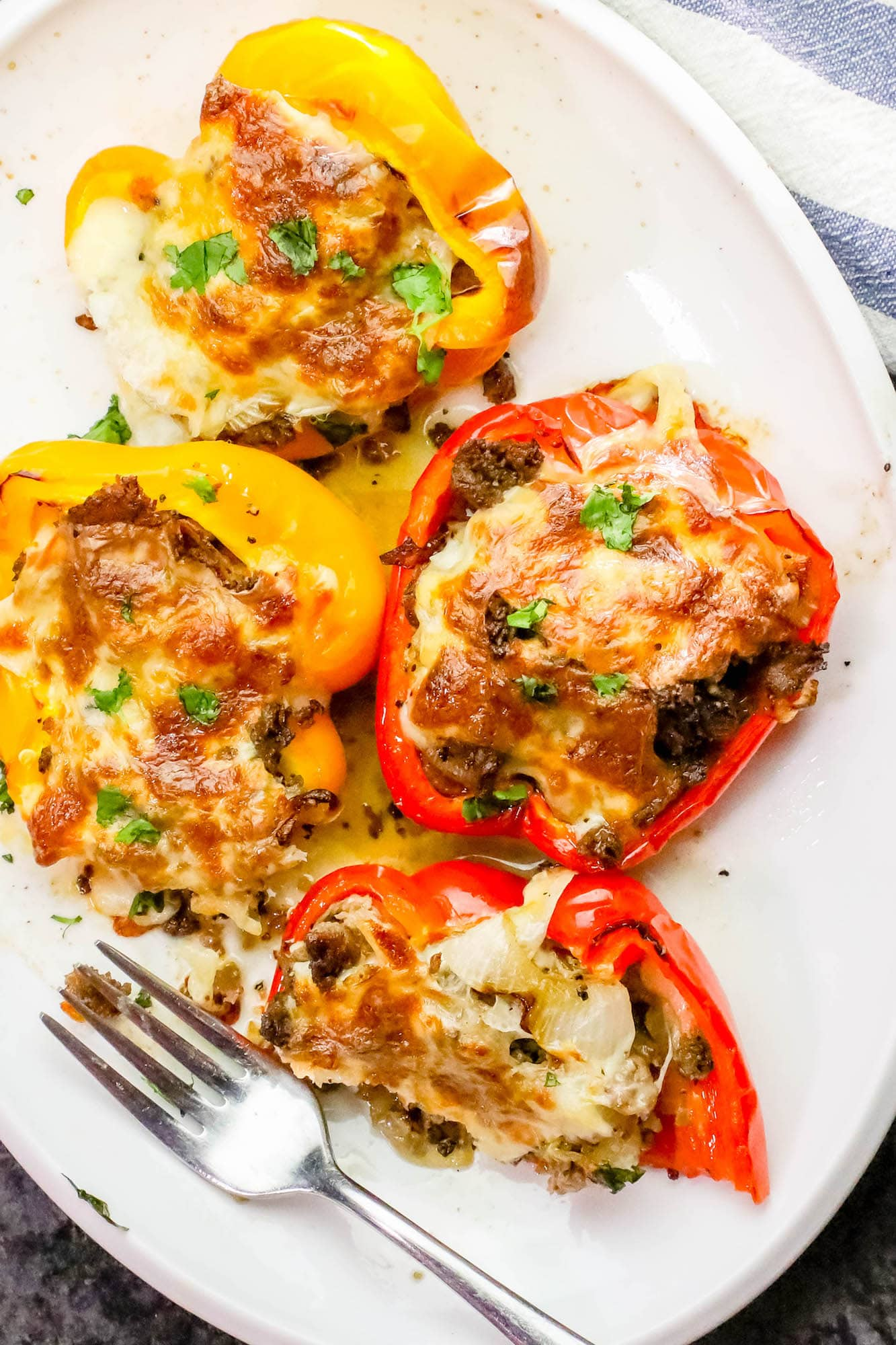 Easy Philly Cheesesteak Stuffed Peppers