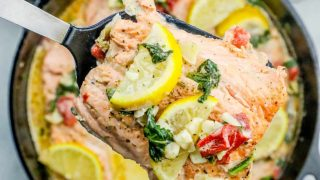One Pot Creamy Lemon Salmon Florentine