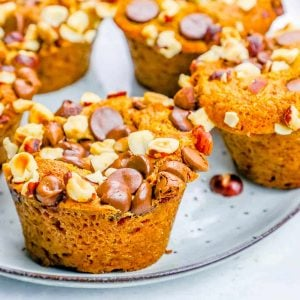 Pumpkin Spice Dump Muffins with Chocolate Chips and Hazelnuts