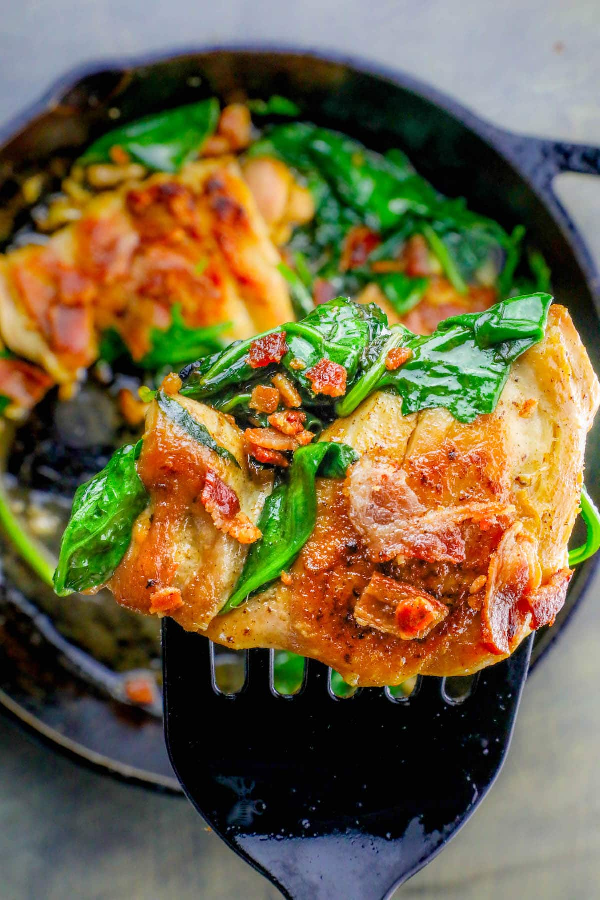 One Pot Bacon Garlic Chicken And Spinach Dinner
