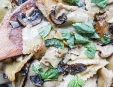 One Pot Beef Ravioli Stroganoff Skillet