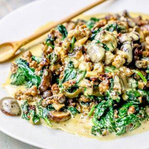 Creamy Sausage Florentine Mushrooms