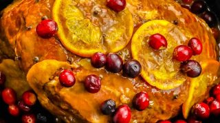 Slow Cooker Orange Cranberry Ginger Glazed Ham