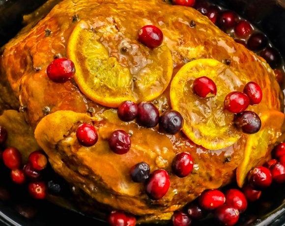 Slow Cooker Orange Cranberry Ginger Glazed Ham